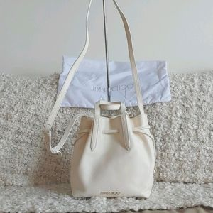 Jimmy Choo Latte Nappa Leather Barra Bucket Bag
